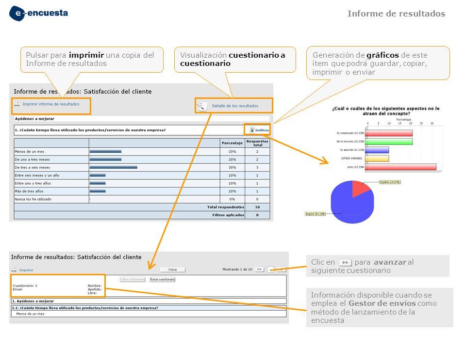 Informe de resultados Pulsar para imprimir una copia del Informe de resultados. Visualización cuestionario a cuestionario.