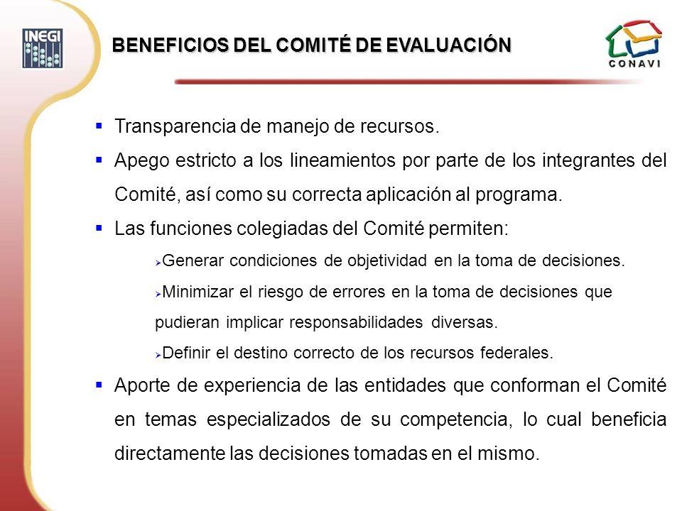 BENEFICIOS DEL COMITÉ DE EVALUACIÓN