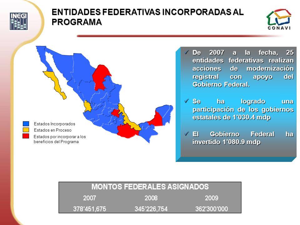 ENTIDADES FEDERATIVAS INCORPORADAS AL PROGRAMA