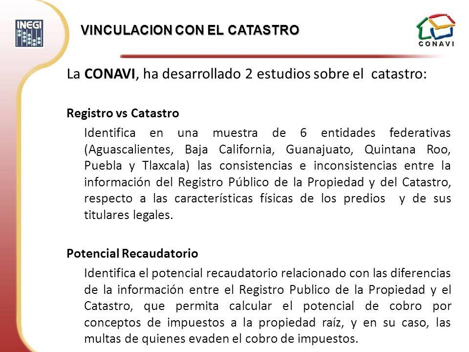 La CONAVI, ha desarrollado 2 estudios sobre el catastro: