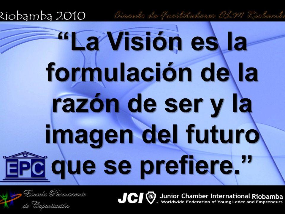 La Visión es la formulación de la razón de ser y la imagen del futuro que se prefiere.