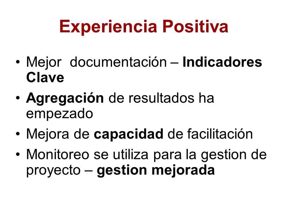 Experiencia Positiva Mejor documentación – Indicadores Clave