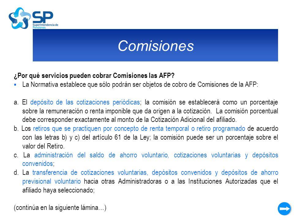 Comisiones ¿Por qué servicios pueden cobrar Comisiones las AFP