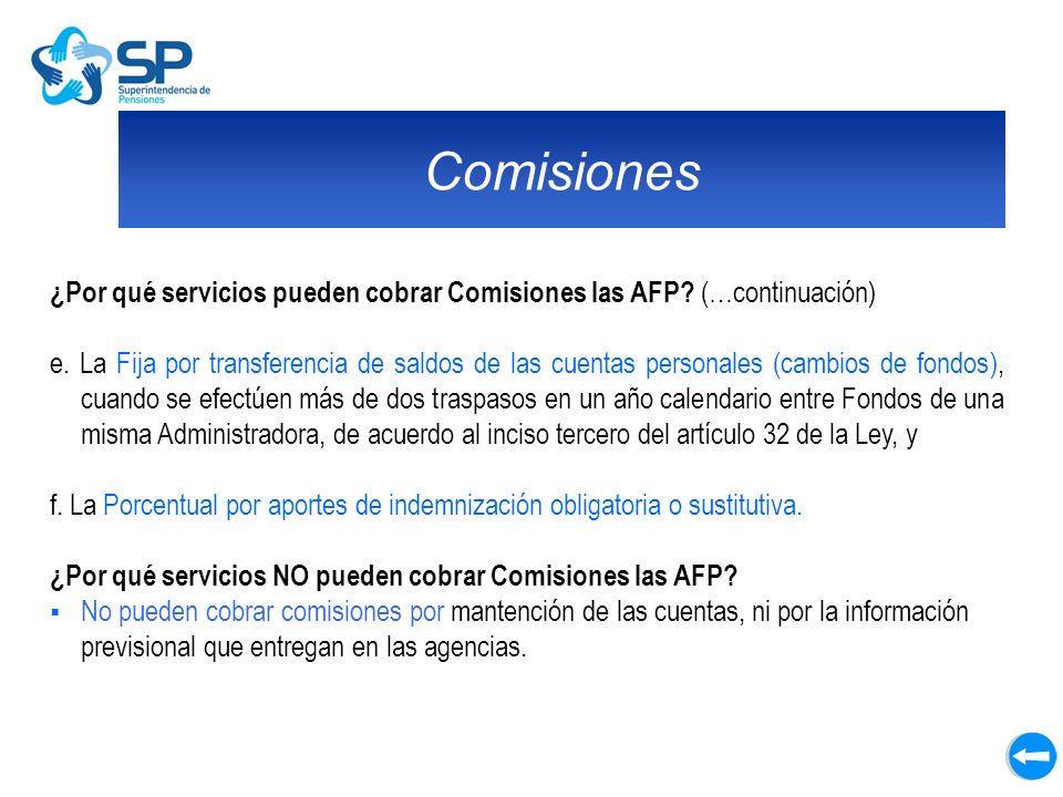 Comisiones ¿Por qué servicios pueden cobrar Comisiones las AFP (…continuación)
