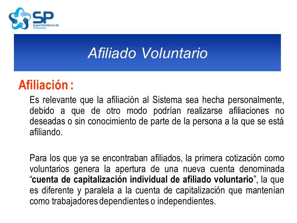 Afiliado Voluntario Afiliación :