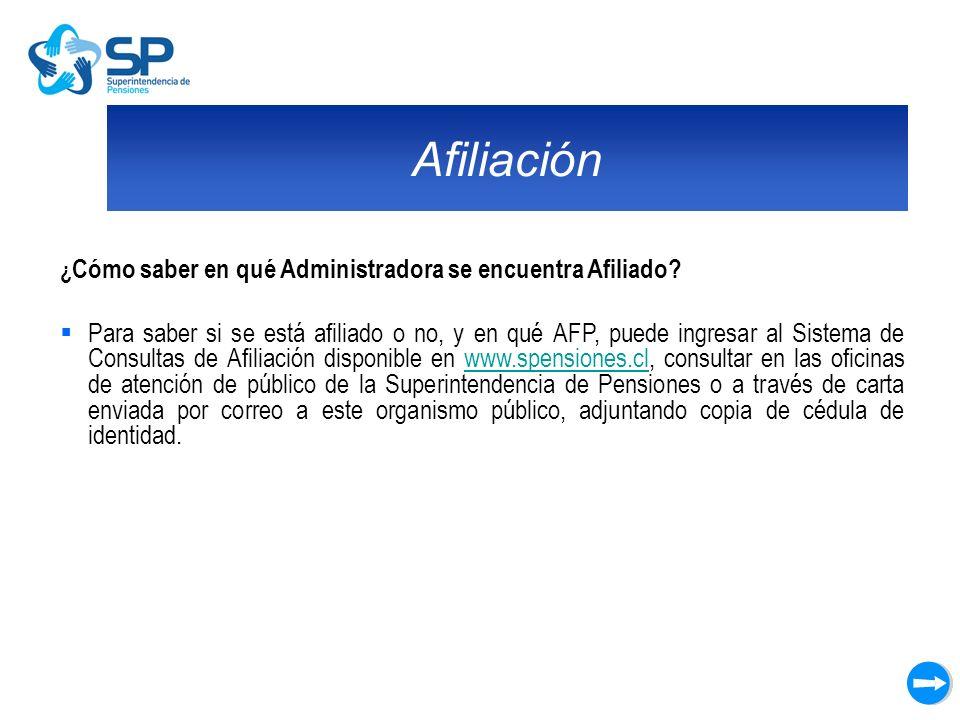 Afiliación ¿Cómo saber en qué Administradora se encuentra Afiliado