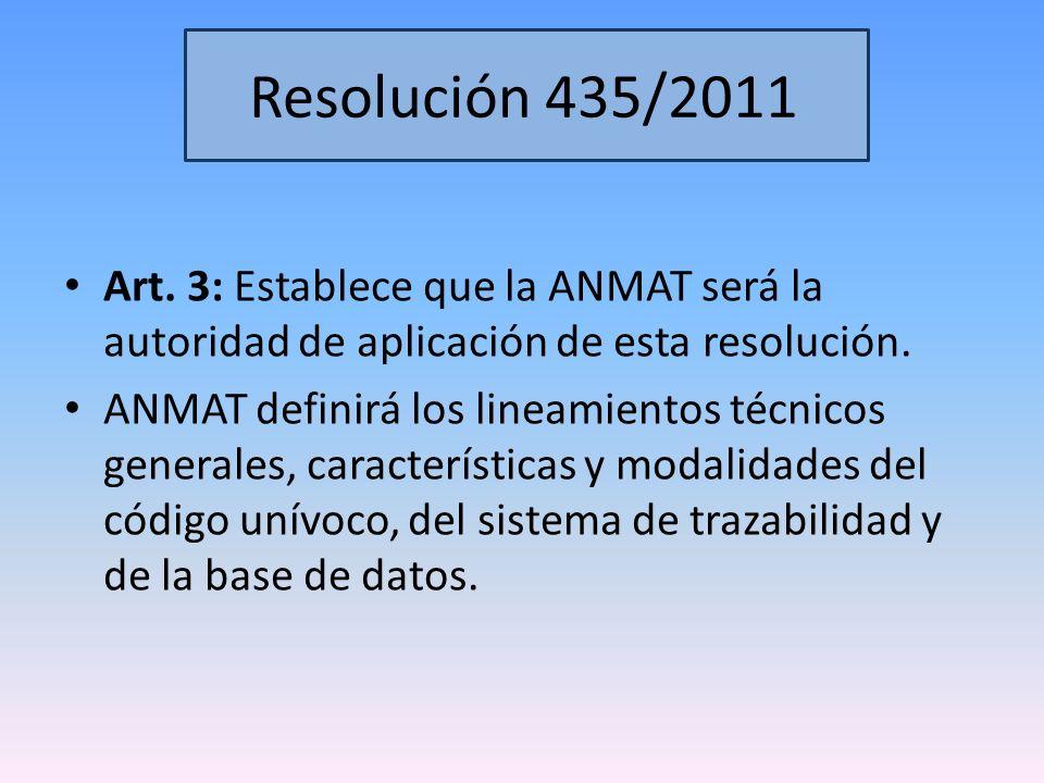 Resolución 435/2011 Art. 3: Establece que la ANMAT será la autoridad de aplicación de esta resolución.