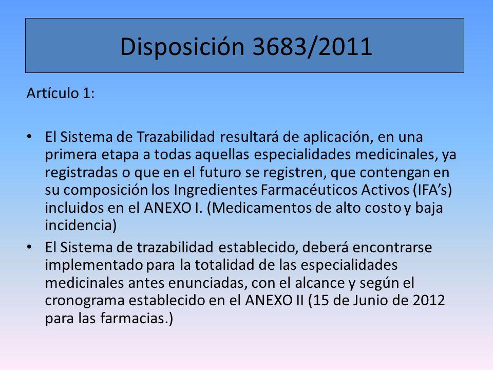 Disposición 3683/2011 Artículo 1:
