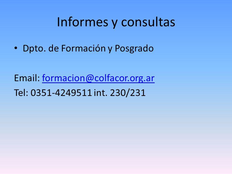 Informes y consultas Dpto. de Formación y Posgrado