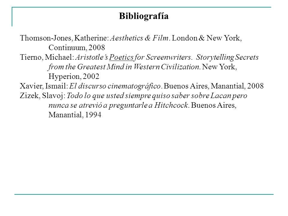 Bibliografía Thomson-Jones, Katherine: Aesthetics & Film. London & New York, Continuum, 2008.