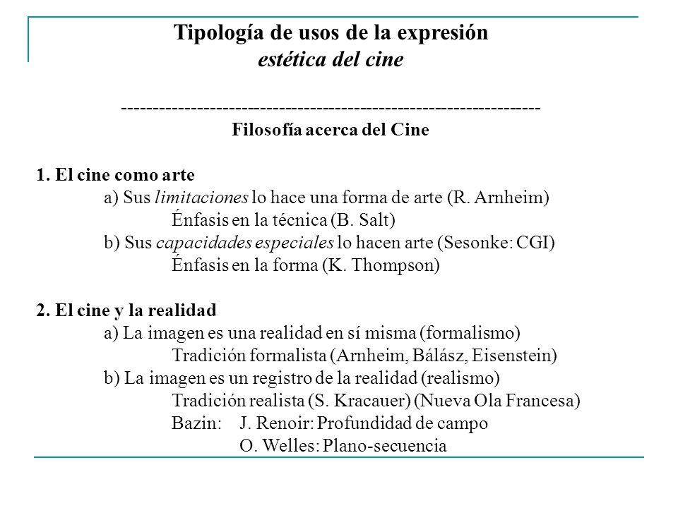 Tipología de usos de la expresión estética del cine