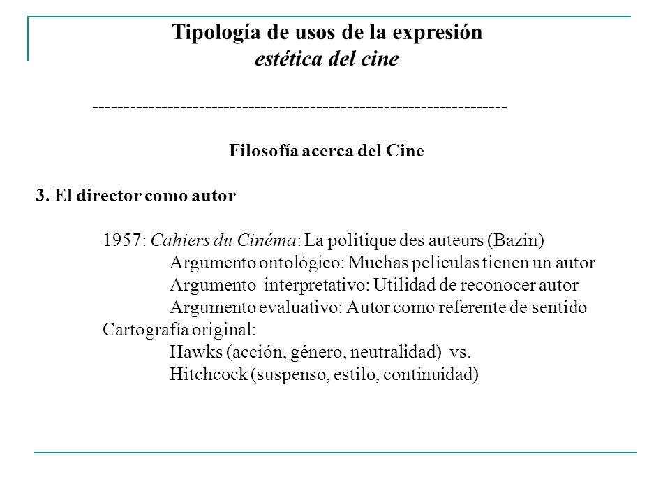 Tipología de usos de la expresión Filosofía acerca del Cine