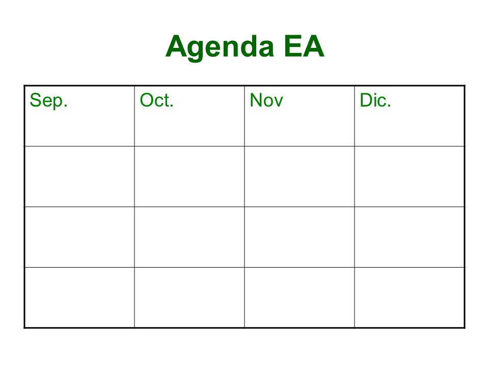 Agenda EA Sep. Oct. Nov Dic.