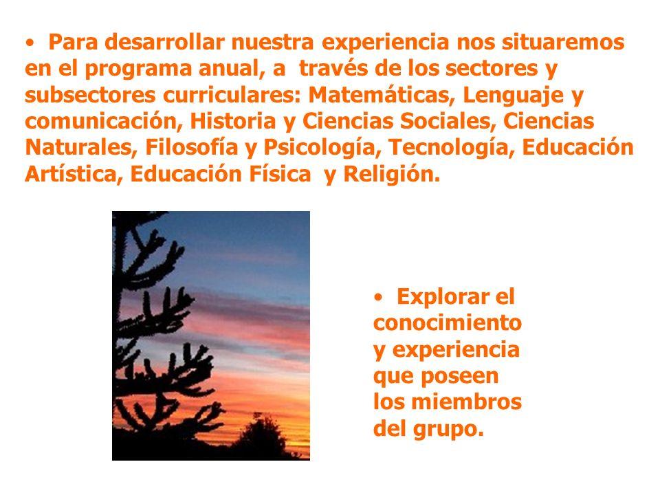 Para desarrollar nuestra experiencia nos situaremos en el programa anual, a través de los sectores y subsectores curriculares: Matemáticas, Lenguaje y comunicación, Historia y Ciencias Sociales, Ciencias Naturales, Filosofía y Psicología, Tecnología, Educación Artística, Educación Física y Religión.