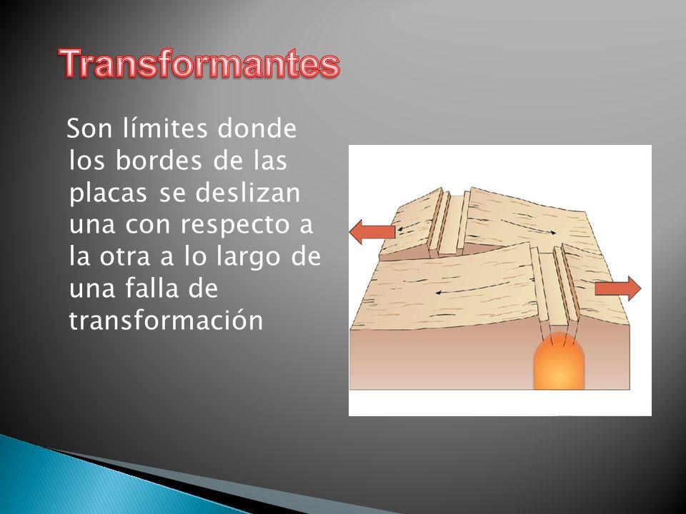 Transformantes Son límites donde los bordes de las placas se deslizan una con respecto a la otra a lo largo de una falla de transformación.
