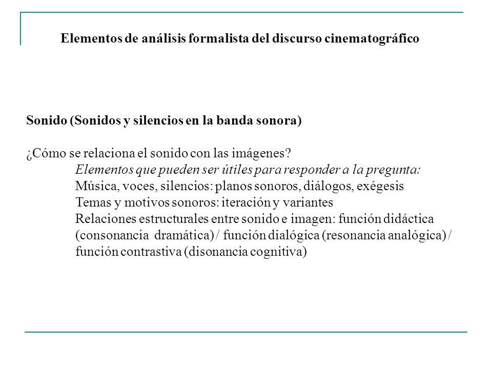 Elementos de análisis formalista del discurso cinematográfico