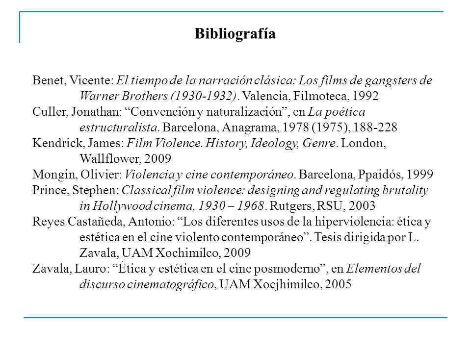 Bibliografía Benet, Vicente: El tiempo de la narración clásica: Los films de gangsters de Warner Brothers (1930-1932). Valencia, Filmoteca, 1992.