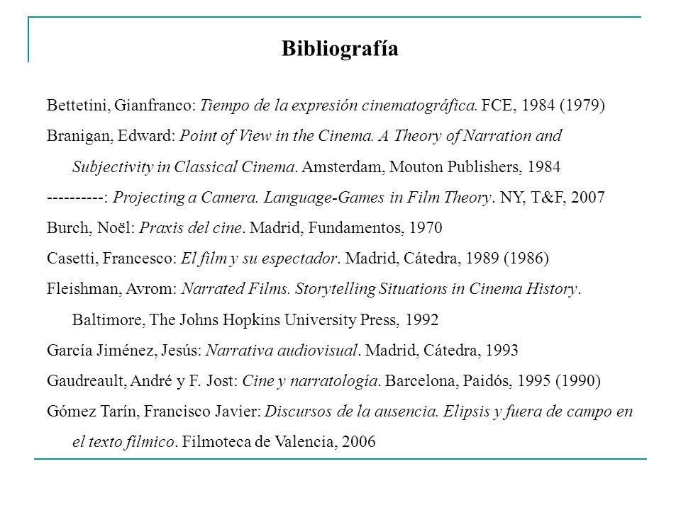 Bibliografía Bettetini, Gianfranco: Tiempo de la expresión cinematográfica. FCE, 1984 (1979)