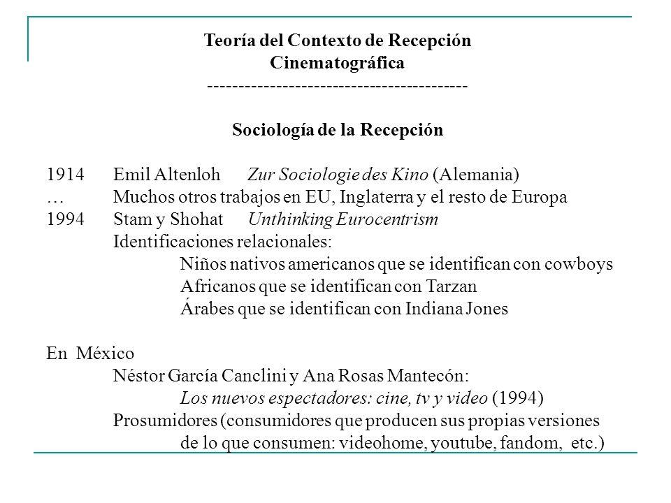 Teoría del Contexto de Recepción Sociología de la Recepción