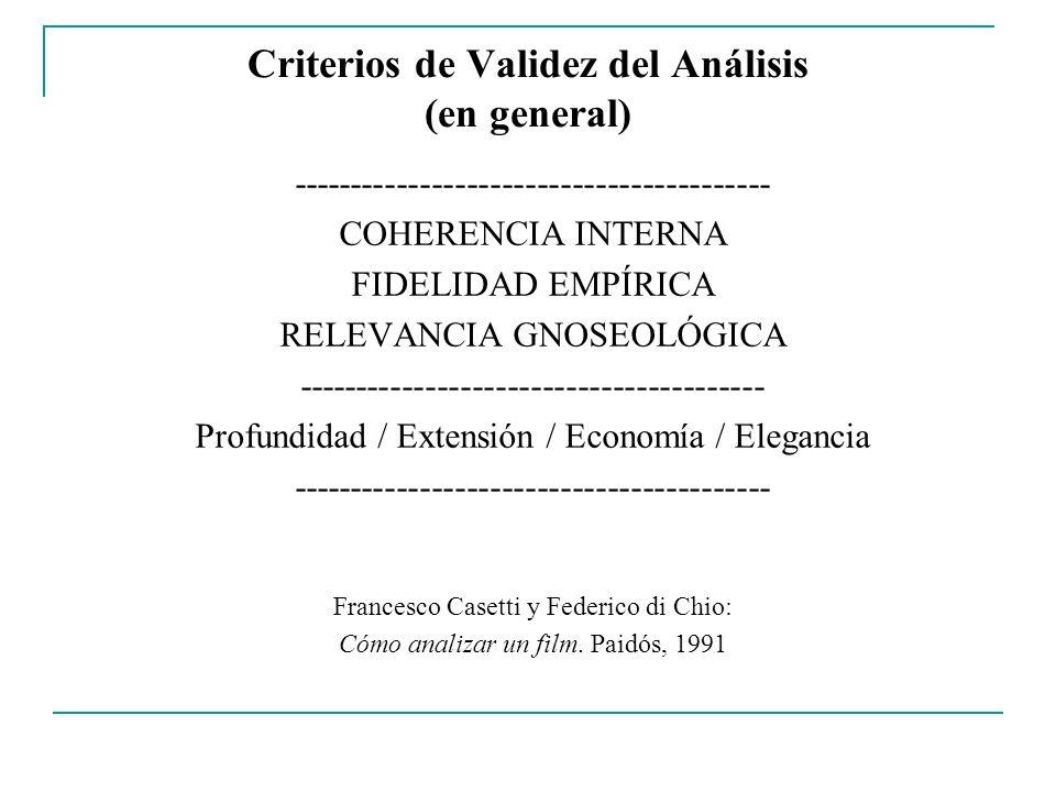 Criterios de Validez del Análisis (en general)