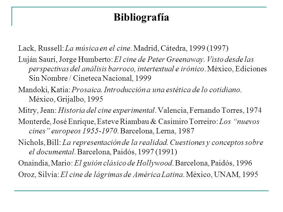 Bibliografía Lack, Russell: La música en el cine. Madrid, Cátedra, 1999 (1997)