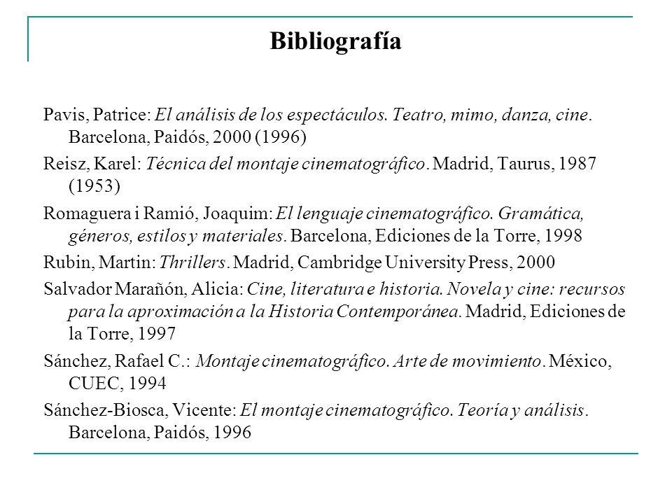 Bibliografía Pavis, Patrice: El análisis de los espectáculos. Teatro, mimo, danza, cine. Barcelona, Paidós, 2000 (1996)