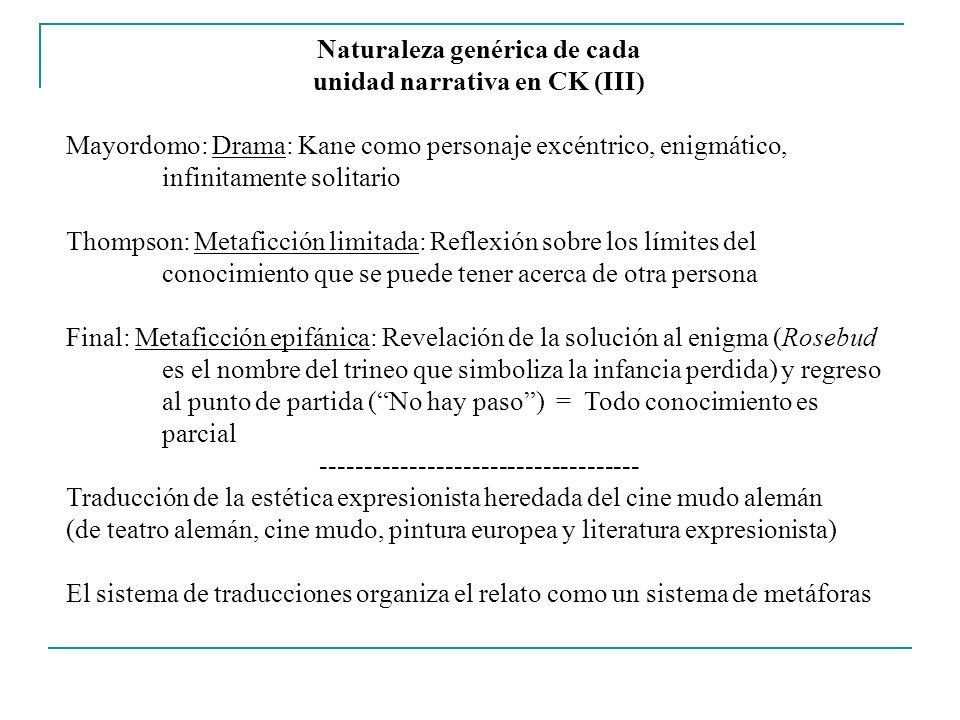 Naturaleza genérica de cada unidad narrativa en CK (III)