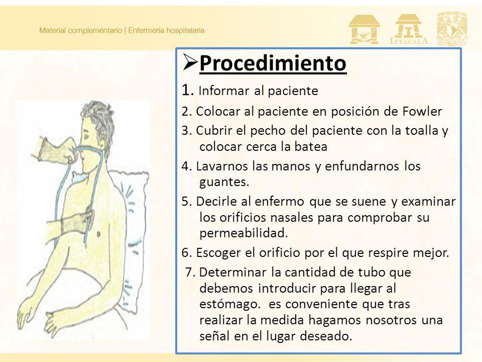 Procedimiento 1. Informar al paciente