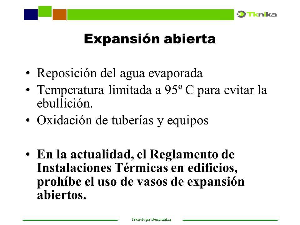 Expansión abierta Reposición del agua evaporada. Temperatura limitada a 95º C para evitar la ebullición.