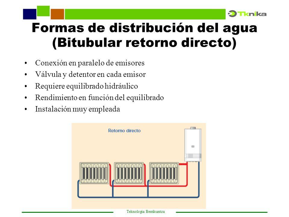 Formas de distribución del agua (Bitubular retorno directo)
