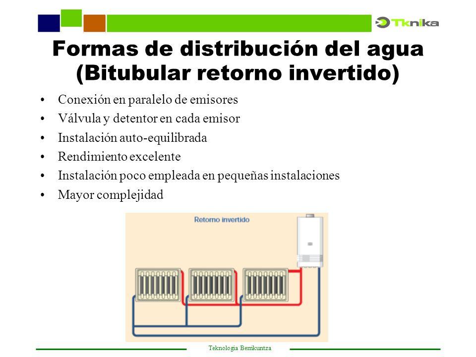 Formas de distribución del agua (Bitubular retorno invertido)