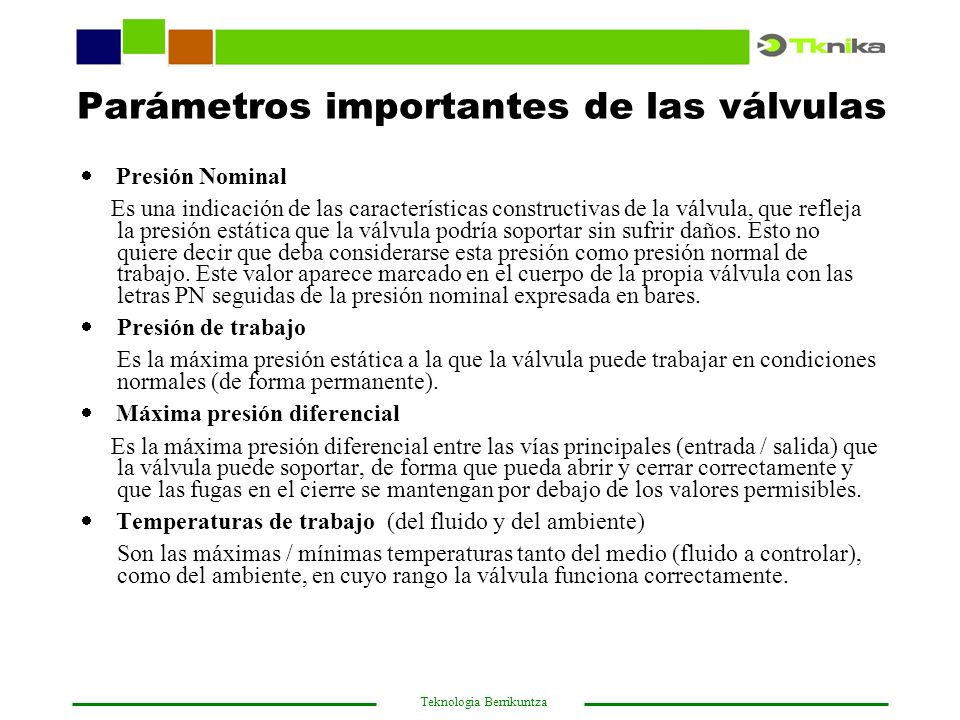 Parámetros importantes de las válvulas