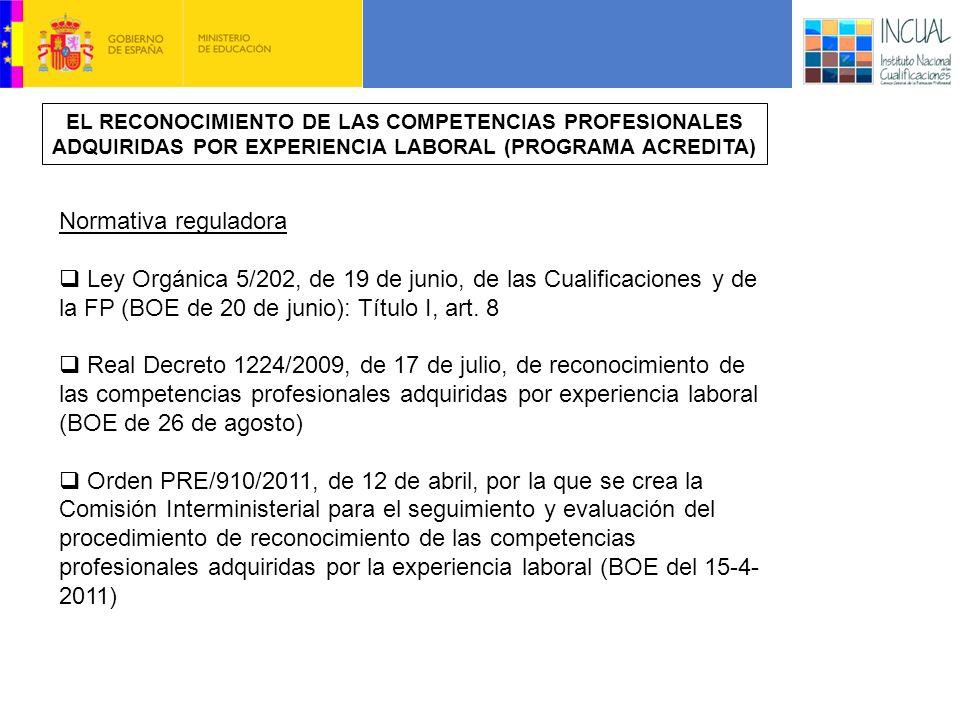 EL RECONOCIMIENTO DE LAS COMPETENCIAS PROFESIONALES ADQUIRIDAS POR EXPERIENCIA LABORAL (PROGRAMA ACREDITA)