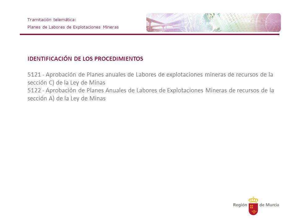 IDENTIFICACIÓN DE LOS PROCEDIMIENTOS