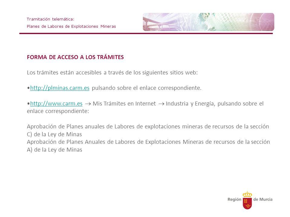 FORMA DE ACCESO A LOS TRÁMITES