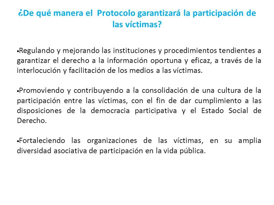 ¿De qué manera el Protocolo garantizará la participación de las víctimas