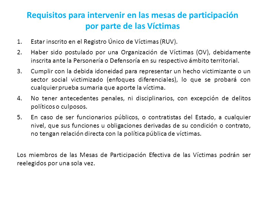 Requisitos para intervenir en las mesas de participación