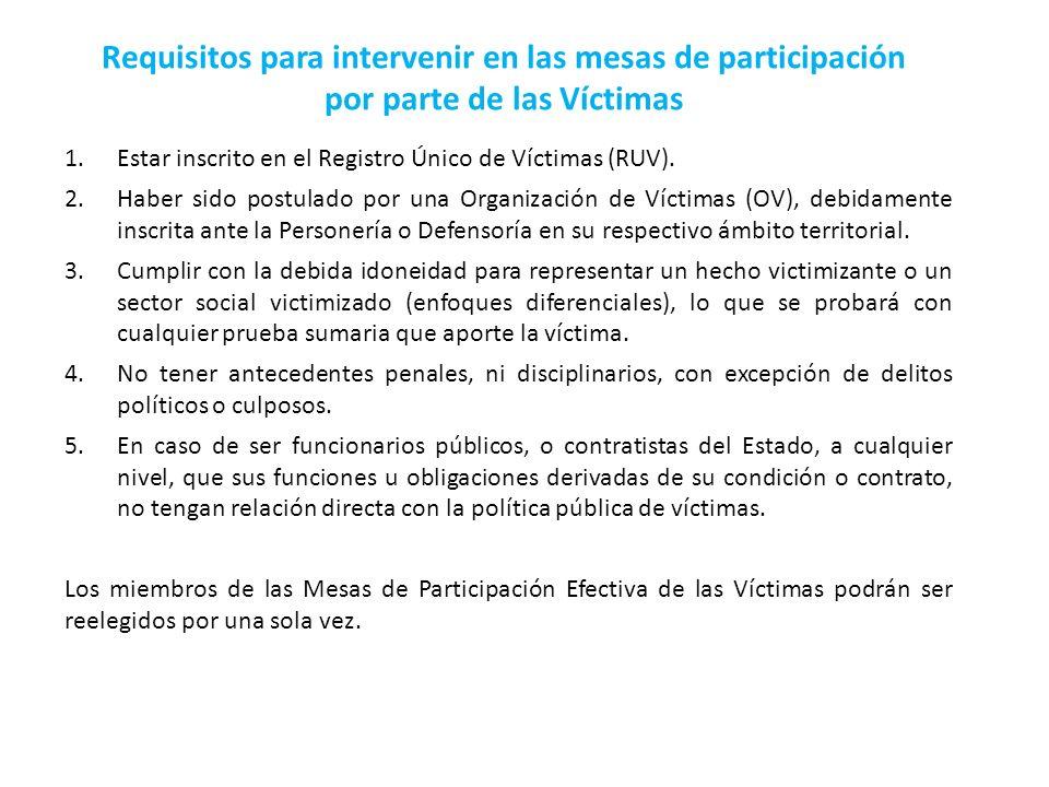 Requisitos para intervenir en las mesas de participación