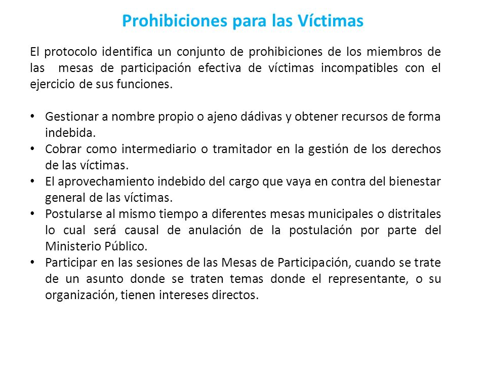 Prohibiciones para las Víctimas