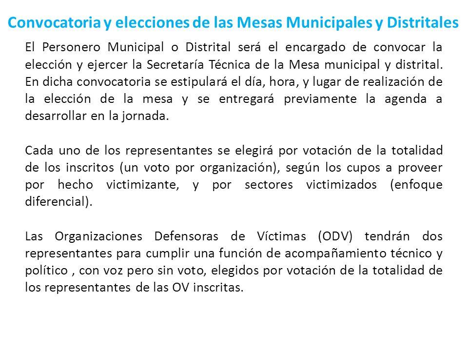 Convocatoria y elecciones de las Mesas Municipales y Distritales