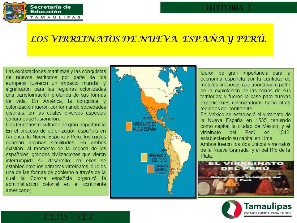 LOS VIRREINATOS DE NUEVA ESPAÑA Y PERÚ.