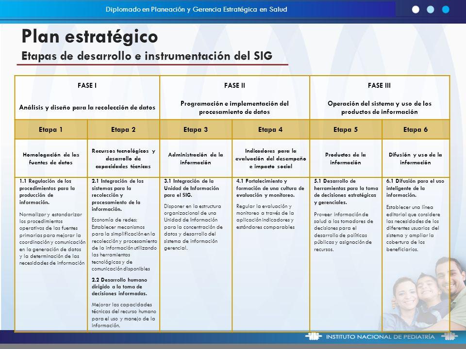 Plan estratégico Etapas de desarrollo e instrumentación del SIG