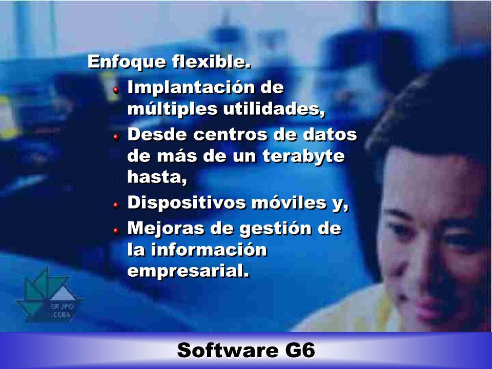 Software G6 Enfoque flexible. Implantación de múltiples utilidades,