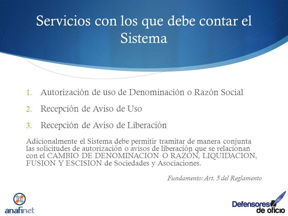 Servicios con los que debe contar el Sistema