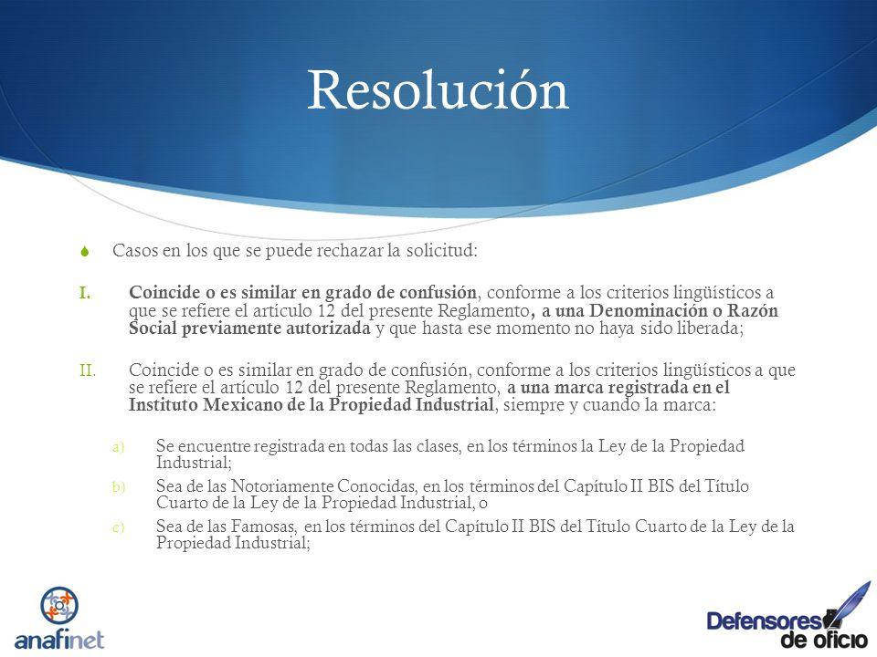 Resolución Casos en los que se puede rechazar la solicitud: