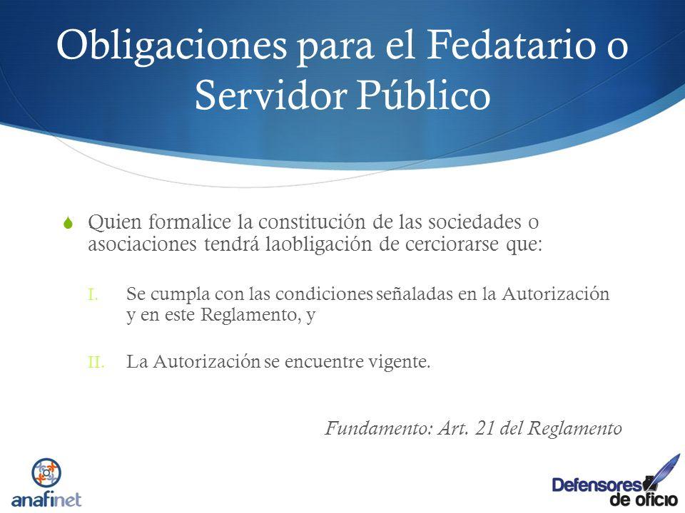 Obligaciones para el Fedatario o Servidor Público