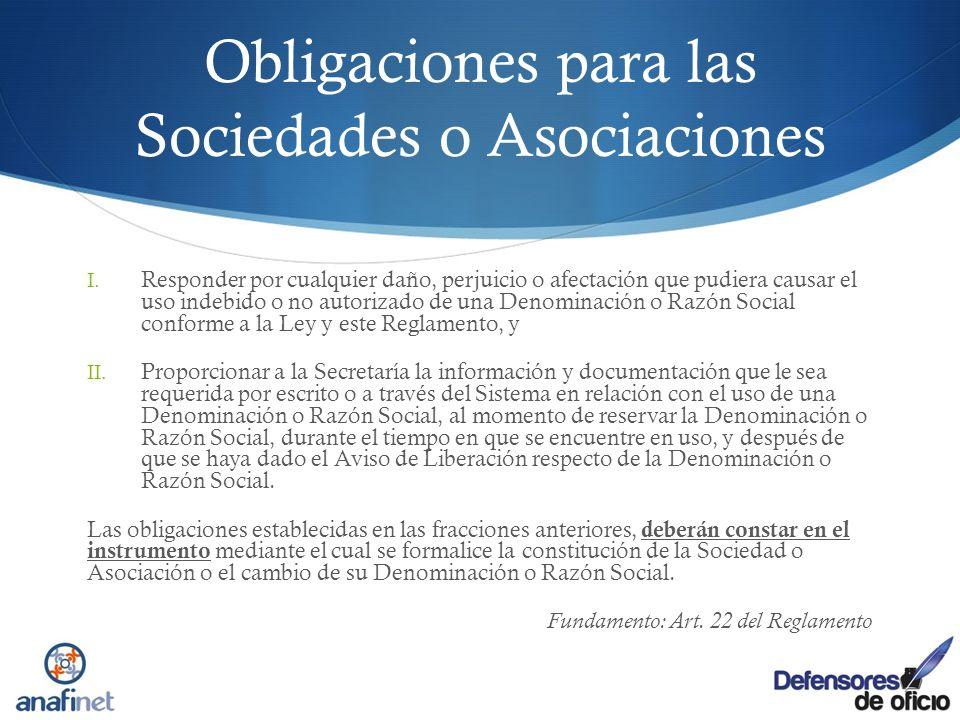 Obligaciones para las Sociedades o Asociaciones