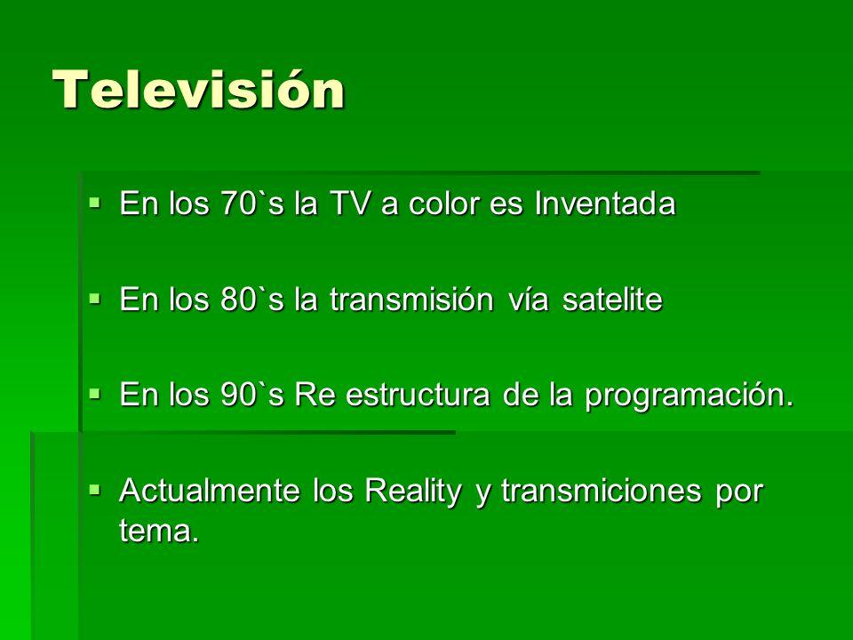 Televisión En los 70`s la TV a color es Inventada