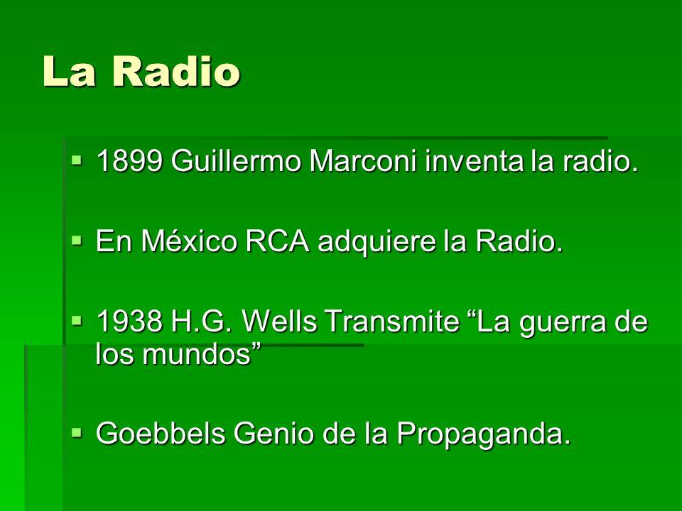 La Radio 1899 Guillermo Marconi inventa la radio.