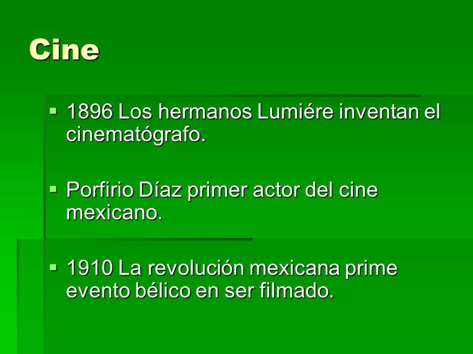 Cine 1896 Los hermanos Lumiére inventan el cinematógrafo.